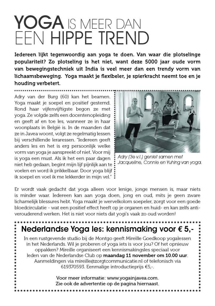 Wilt u kennismaken met yoga? Kom naar de introles speciaal voor 55plussers in Javea, Spanje.